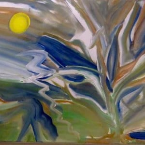 June Kaplan Painting - Twilight Lightly