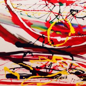 abstract painting red arc