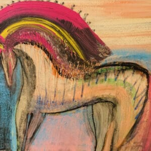 colorful abstract painting of a horse